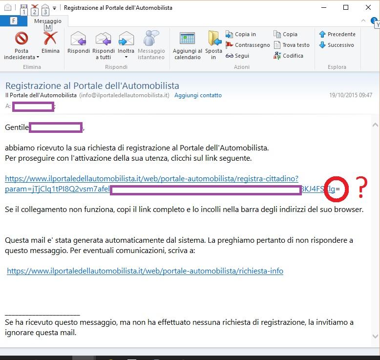 #agendadigitale email registrazione portale automobilista