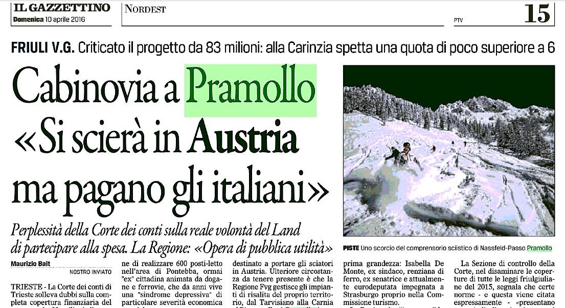 Pramollo - art. Il Gazzettino 10-04-2016