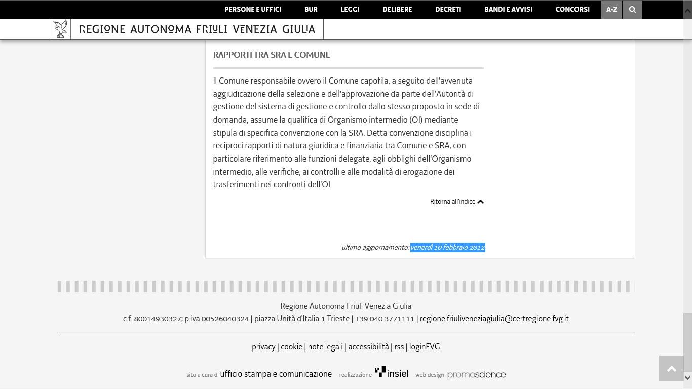 01 PISUS sito FVG non aggiornato