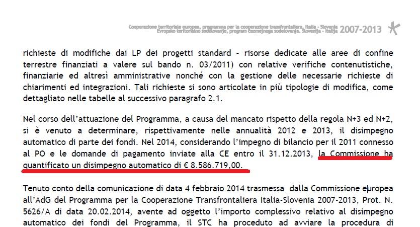 disimpegno automatico italia-slovenia 2007-13