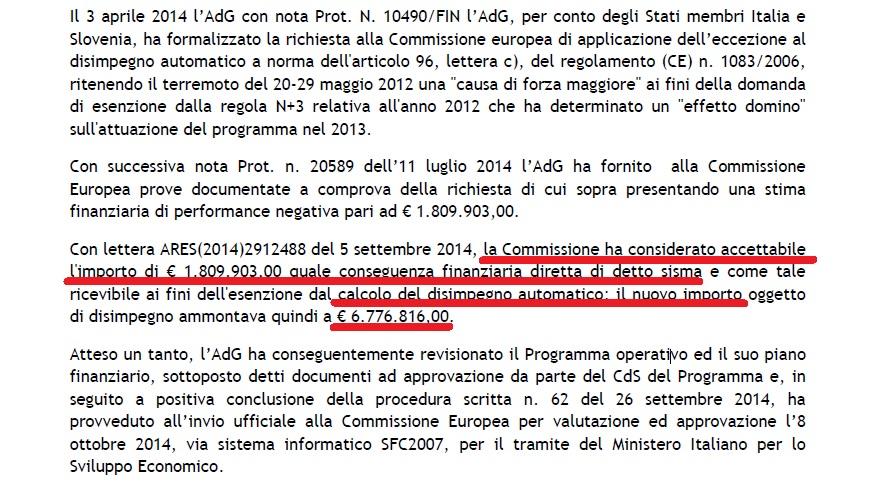 sconto disimpegno automatico italia-slovenia 2007-13